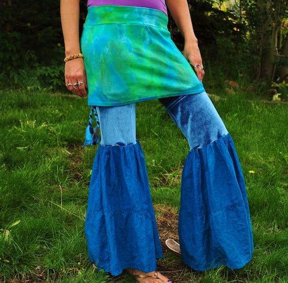 RESERVED FOR JENN  Ultra Flared Leg warmerS, Pixie Flares, Festival Attire, hemp and velveT, Thigh High Leg Flares