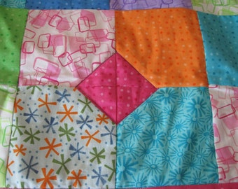 Diamond in the Squares Quilt in bright colors for a girl