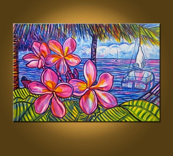 RESERVED for VICTORIA -- Tropical Sea Fantasy II -- 20 x 30 inch Original Oil Painting -- Colors Not to be Believed