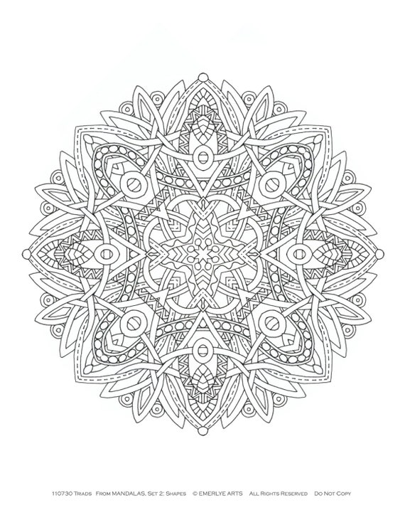coloring book radial symmetry mandalas by emerlyearts on etsy