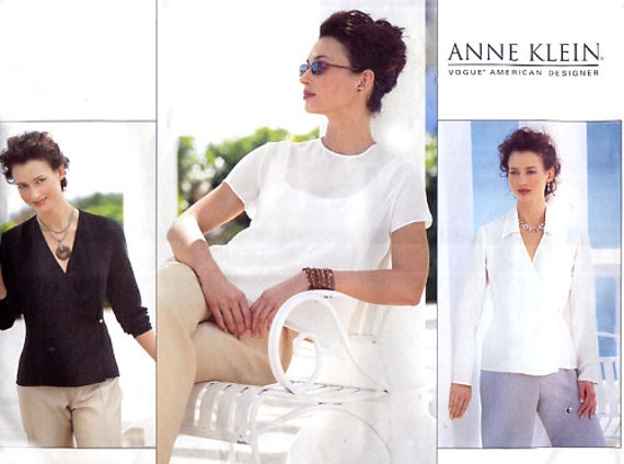 Vogue 2308 Anne Klein Wrap Blouse / Pullover Top - Designer Sewing Pattern - Plus Size 18-20-22 Uncut