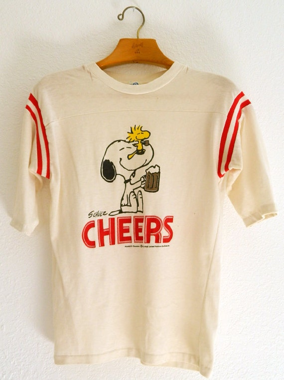 vintage peanuts snoopy woodstock beer cheers tee by stylebook. Black Bedroom Furniture Sets. Home Design Ideas