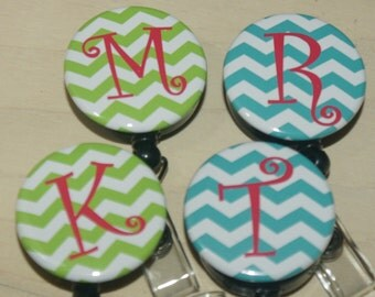 Badge Reel with MYLAR covering...CHOOSE your letter..chevron