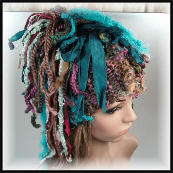Knitted Headband Hat Dreadlock fun silk sari by ...