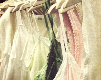 "Fine Art Photography Lingerie Pink Green Bedroom Wall Art Fashion Decor Boho Summer Boudoir Art Print ""Cotton Slips"""