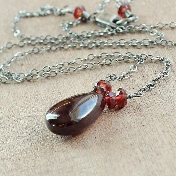 Red Garnet  Necklace -    Oxidized Silver -   Handmade Jewelry  -  Birthstone -  Gemstone Necklace - Garnet Jewelry