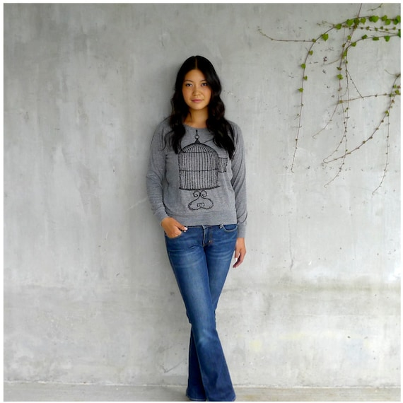 Womens slouchy pullover - birdcage screenprint on heather gray - raglan pullover - long sleeved top - One That Got Away