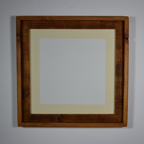 Reclaimed wood photo frame 16x16 with off white mat 12x12 eco chic wall decor