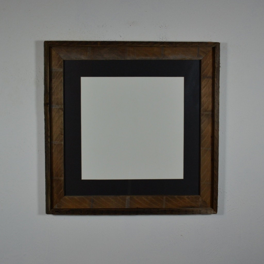 16x16 Barnwood Frame Brown With Black 12x12 Mat