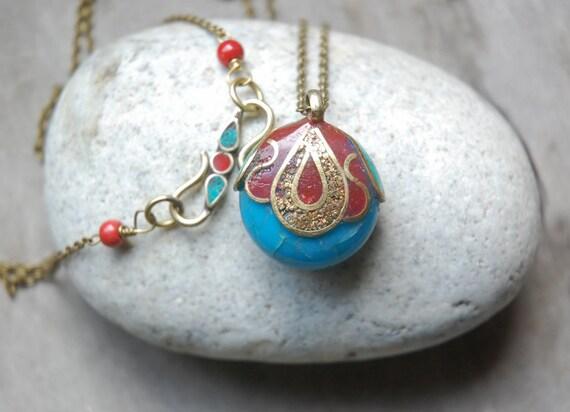 Exotic Turquoise Necklace, boho, red, turquoise
