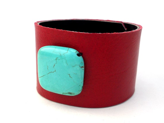 Red Hot Leather Cuff with Turquoise Bead