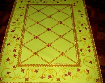 FLOORCLOTH  hand painted canvas rug  FLOOR CLOTH  4'x6'