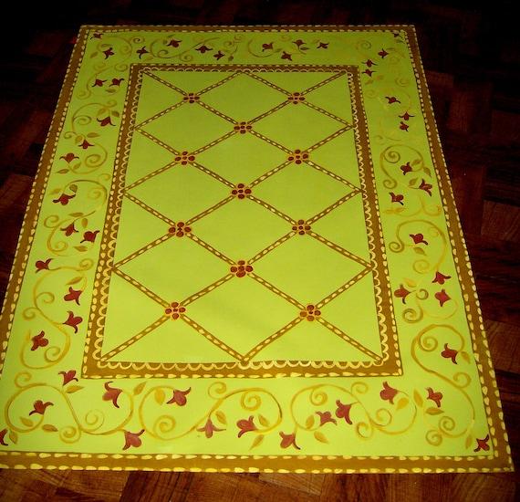 FLOORCLOTH  hand painted canvas rug  FLOOR CLOTH  4'x6'