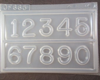 """Resin Mold Numbers 1.5"""" 37mm Clock Number Pendant Fondant Chocolate"""