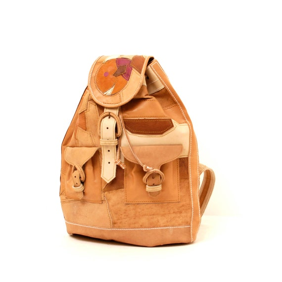PATCHWORK tan leather 80s RUCKSACK backpack unisex