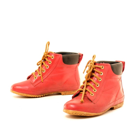 size 6 HERITAGE red rubber 80s 90s OUTDOORS rain duck lace up boots