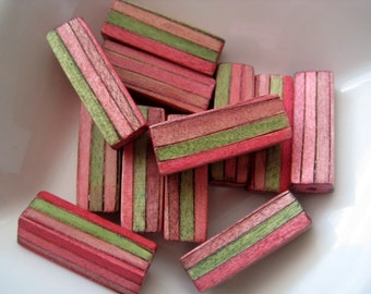 12 vintage pink and green striped wood beads
