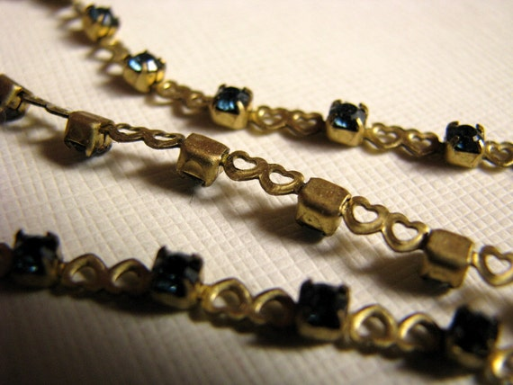 Vintage brass heart chain with blue rhinestones - 16.5 inches