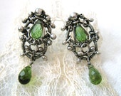 Eliya - Ornate wire wrapped green tourmaline stud earrings