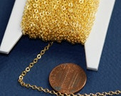 32 ft spool of  gold Plated chain 2mm tiny flat solder cable chain