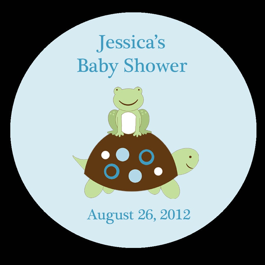 12 personalized baby shower 2 1 2 inch stickers turtle and
