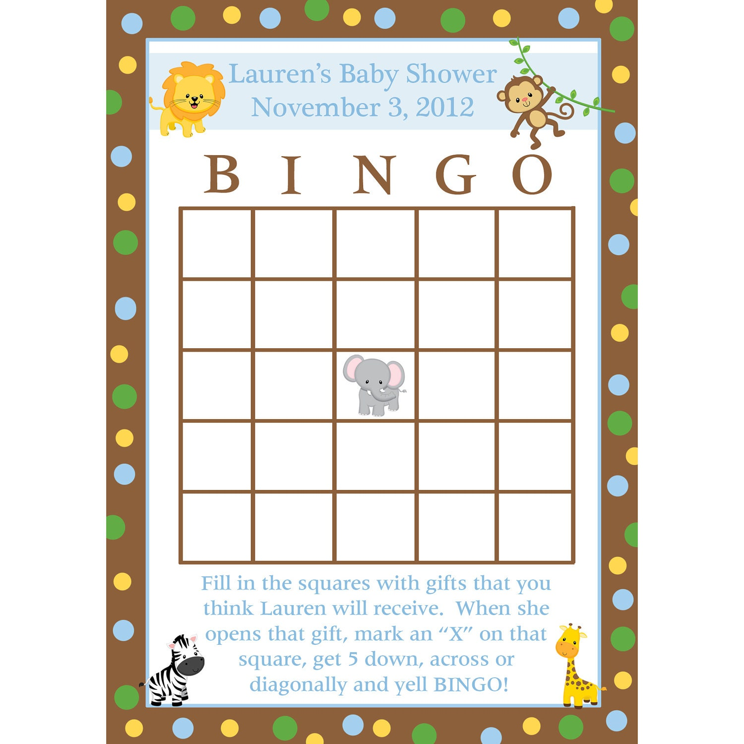 24 baby shower bingo cards zoo animals