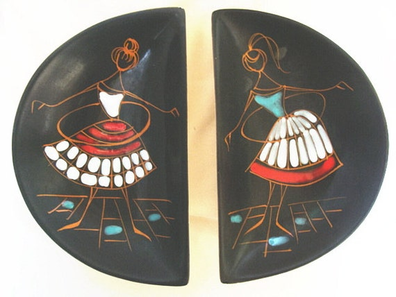 Reserved For Susan--------------------------Mid Century Modernist Hula Hoop Girls Dishes Italy