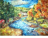 AUTUMN RIVER -11x15 original painting landscape watercolor OOAK, Autumn, Fall, Colorful Leaves, Elk, River, Trees