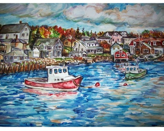 AUTUMN WATERFRONT -11x15 original painting seascape  watercolor OOAK, Ocean, Sea, Harbor, Waterfront, Fising Boats, Autumn, Fall, Blue