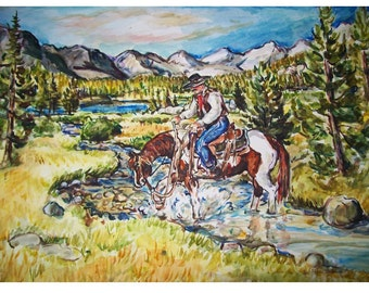 MOUNTAIN TRAIL Ride  - 11x15 original painting landscape watercolor OOAK, Western, Cowboy, Horse, Mountain, Trail, Stream, Paint Horse