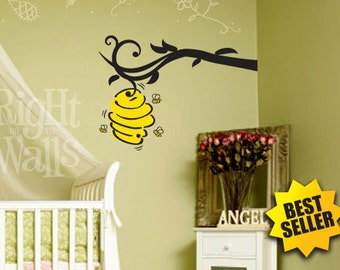 Bee Hive Branch 45 Vinyl Wall Decal Stickers Nursery Decals