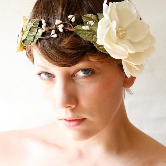 ivory flower wedding crown/wreath 'MAGPIE' woodland floral bridal head piece