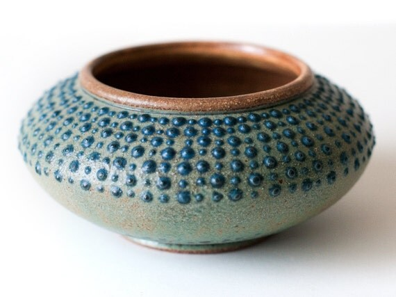 Spotted Stoneware Bowl, Turquoise and Blue