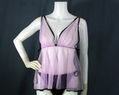 60s Lavender Frederick's of Hollywood Chiffon Nightie, Small - Vintage Lingerie