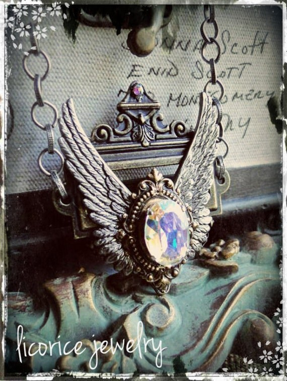 Shining Winged Victory Flying Cameo Necklace gothic neovictorian victorian steampunk AB SWAROVSKI Crystal fantasy goth filigree shabby chic