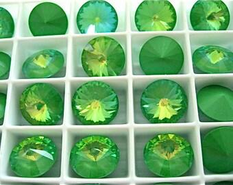 6 Ultra Lime AB Swarovski  Rivoli Stone 1122 12mm