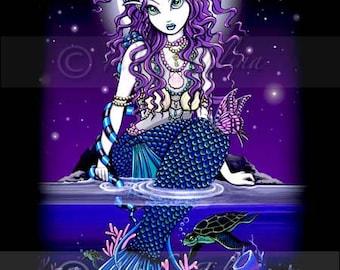 Uxia Midnight Tropical Mermaid Fae Signed Fine Art Print