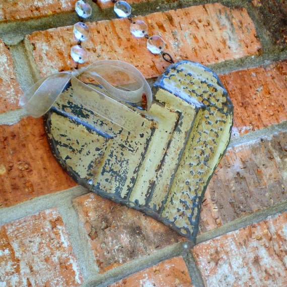 Ceiling Tin Heart Wedding Decor Vintage Rustic Metal Crystal Prisms