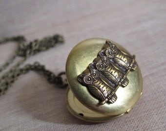 Nature Vintage Inspired Antiqued Gold Raw Brass Locket Necklace. Brass Ox Woodlands Owls. Antiqued brass Long Necklace
