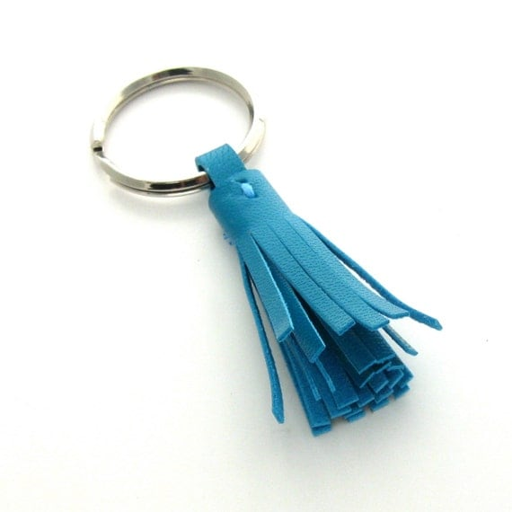 Blue Leather Key Ring, A Handmade Leather Tassel Keychain in Bright Turquoise