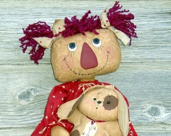 CF189 Puppy Love - PDF ePattern Cloth Doll Pattern Raggedy, Dog