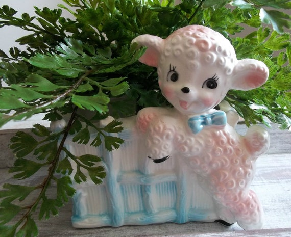 Shabby French Vintage 1960s Nursery Lamb SheepPink Blue Baby Vase Planter Container