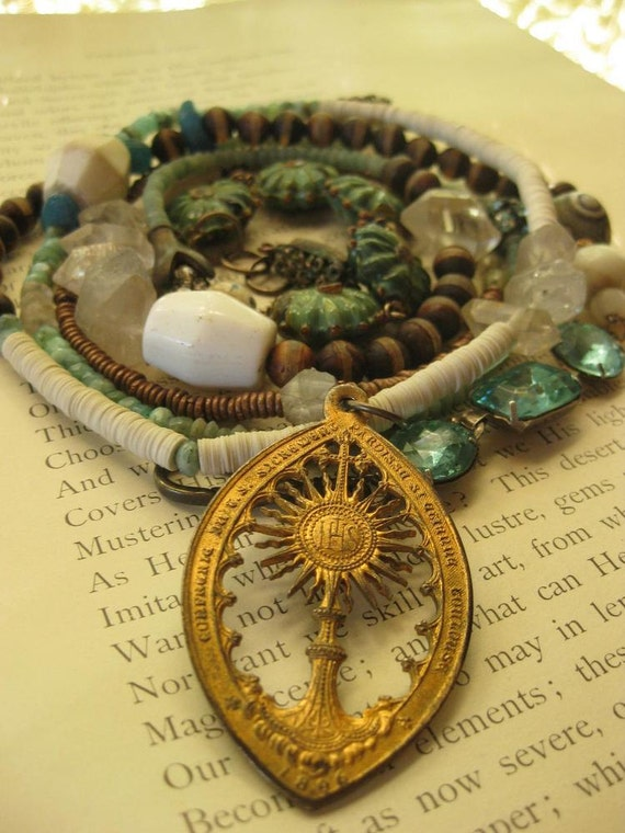 missionary -- ancient religious ethnic tribal gemstone wrap bracelet/necklace