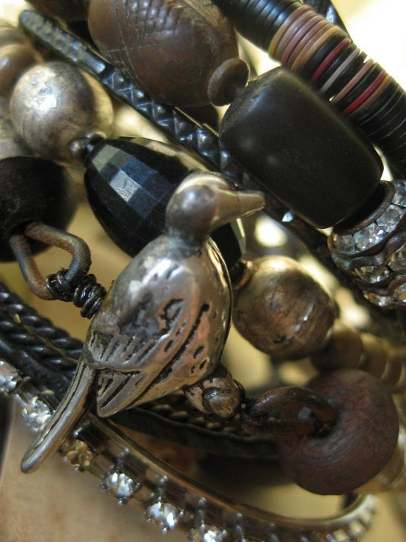 Bird Watching -- freestyle bangles of ancient ethnic, tribal beads and rhinestones