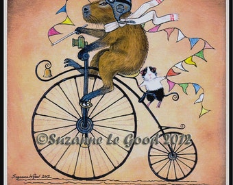 Limited Edition GUINEA PIG & CAPYBARA  Mounted Print by Suzanne le Good