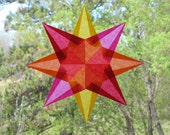 Gold Pink Orange and Red Waldorf Inspired Origami Window Star
