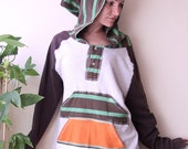 refashion double pouch mens hoodie with stripes unisex medium