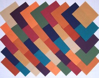 Subdued Solids 100% Cotton 40 4 inch Quilt Block Fabric Squares (stk74A)