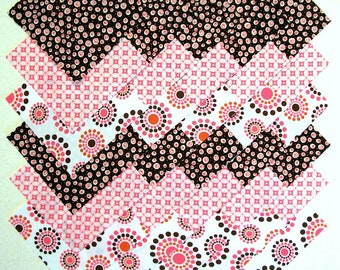 Retro Pink & Dark Brown 5 inch Fabric Quilting Squares (#D/76A)