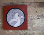 Furrowed Brow, original illustration of a bird, ink on coffee stained wood block, dear darlington designs by Steph Davies